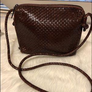 Dillard leather woven crossbody purse